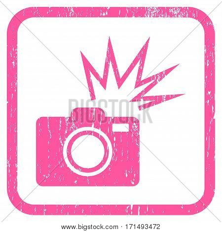 Camera Flash rubber watermark. Vector pictogram symbol inside rounded rectangular frame with grunge design and unclean texture. Stamp seal illustration. Unclean pink ink sticker on a white background.
