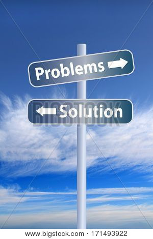 Problems vs solution ahead road sign concept against white stormy cloud and blue sky background