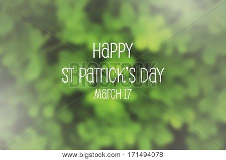 St Patricks Day Shamrock Blurred Background.