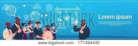 Business People Group Wear Virtual Reality Glasses Digital Interface Screen Presentation Seminar Flat Vector Illustration