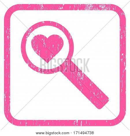 Find Love rubber watermark. Vector pictogram symbol inside rounded rectangle with grunge design and scratched texture. Stamp seal illustration. Unclean pink ink sign on a white background.