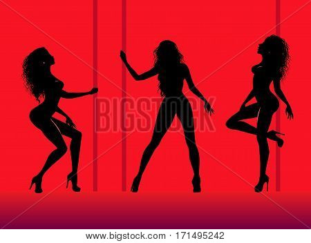 Set of silhouettes of young dancing beautiful woman