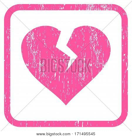 Heart Break rubber watermark. Vector pictogram symbol inside rounded rectangular frame with grunge design and scratched texture. Stamp seal illustration. Unclean pink ink emblem on a white background.