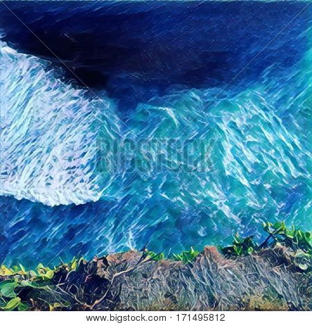 Sea view down from the cliff. Electric blue ocean and rip curl from abrupt coast. High mountain and seashore. Digital illustration of exotic nature on tropical island. Summer wanderlust