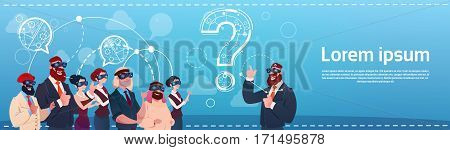 Business People Group Wear Digital Reality Glasses Question Mark Ponder Problem Concept Flat Vector Illustration