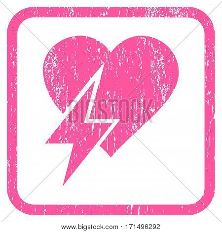 Heart Shock rubber watermark. Vector pictogram symbol inside rounded rectangle with grunge design and dust texture. Stamp seal illustration. Unclean pink ink emblem on a white background.