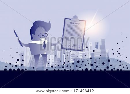 Business Man Hold Paper Document Sign Contract Concept Flat Vector Illustration