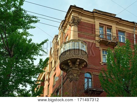 The house of the former cooperative Tvorchestvo, built in 1926. Tryokhprudnyy Lane, Moscow, Russia