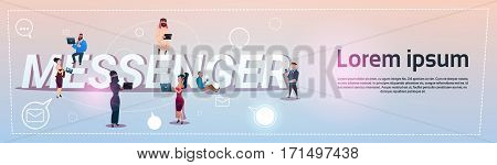 People Group Messenger App Social Network Communication Concept Flat Vector Illustration