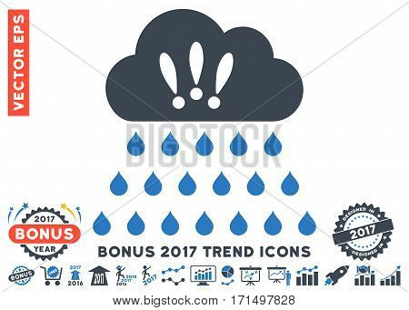 Smooth Blue Thunderstorm Rain Cloud pictogram with bonus 2017 trend clip art. Vector illustration style is flat iconic bicolor symbols white background.