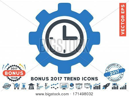 Smooth Blue Time Setup Gear pictogram with bonus 2017 trend images. Vector illustration style is flat iconic bicolor symbols white background.