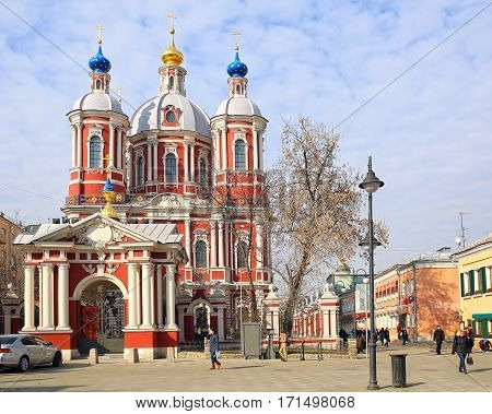 MOSCOW/ RUSSIA - MARCH 20. Old church of St. Clement the Hieromartyr (the Patriarch of Rome) in Zamoskvorechye in baroque style after renovation on March 20, 2015. Moscow, Russia.