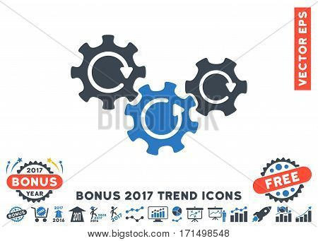 Smooth Blue Transmission Gears Rotation pictograph with bonus 2017 trend pictograms. Vector illustration style is flat iconic bicolor symbols white background.