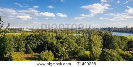 Panorama of the Park Kolomenskoye along the Moskva River. Moscow,Russia.