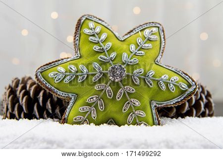 Green Star Ornament and Pine Cones In Snow Close Up