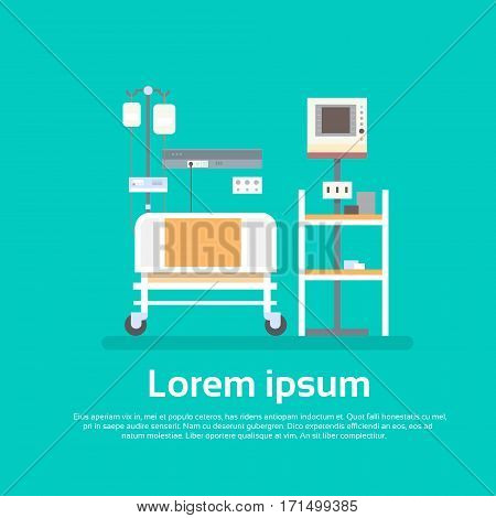 Hospital Room Interior Intensive Therapy Patient Ward Equipment Banner With Copy Space Flat Vector Illustration