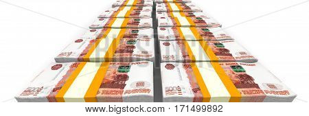 Bundles of Russian rubles tied with a tapes on a white surface. Isolated. 3D Illustration