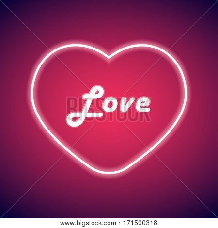 Neon heart Vector illustration Neon bright lamp in heart shape and the inscription Love in the middle of heart