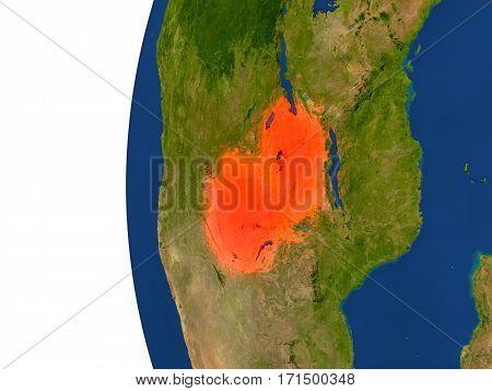 Zambia On Globe