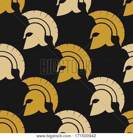 Spartan Helmet silhouette seamless pattern, golden Greek warrior - Gladiator, legionnaire heroic soldier. vector