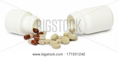 Set of medications for a quick recovery and sustain life. Isolated on white background