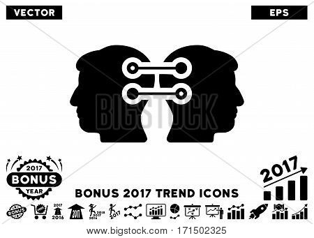 Black Dual Heads Interface Connection icon with bonus 2017 year trend clip art. Vector illustration style is flat iconic symbols white background.