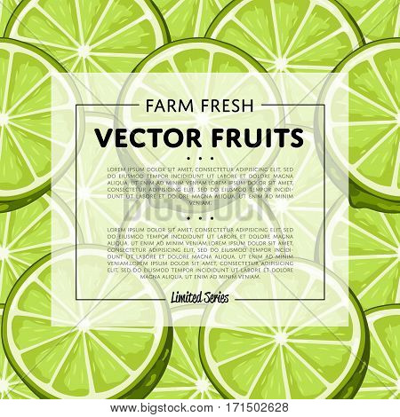 Organic farm fruit square banner with lime vector illustration. Natural fruit background, organic farming template, vegan food retail poster. Healthy farm fruit advertising backdrop with lime pattern