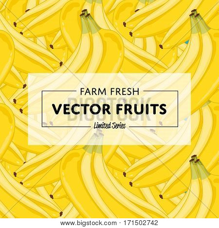 Organic farm fruit square banner with banana vector illustration. Natural fruit background, fresh organic farming template, vegan food retail poster. Healthy farm fruit backdrop with banana pattern