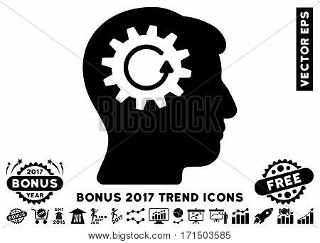 Black Head Gear Rotation pictogram with bonus 2017 trend images. Vector illustration style is flat iconic symbols white background.