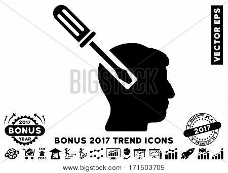 Black Head Screwdriver Tuning pictograph with bonus 2017 trend clip art. Vector illustration style is flat iconic symbols white background.