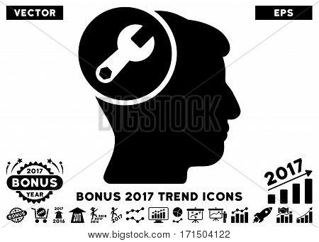 Black Head Wrench Repair pictograph with bonus 2017 year trend elements. Vector illustration style is flat iconic symbols white background.