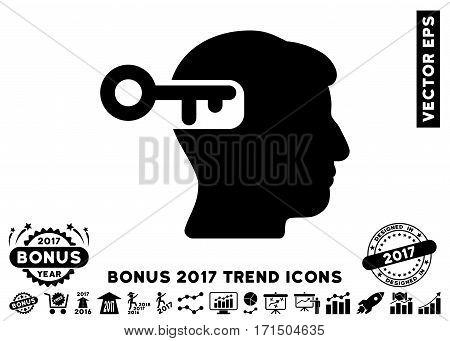 Black Intellect Key pictogram with bonus 2017 year trend design elements. Vector illustration style is flat iconic symbols white background.
