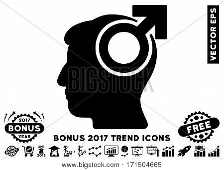 Black Intellect Potency pictogram with bonus 2017 year trend elements. Vector illustration style is flat iconic symbols white background.