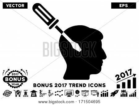 Black Intellect Screwdriver Tuning icon with bonus 2017 year trend symbols. Vector illustration style is flat iconic symbols white background.