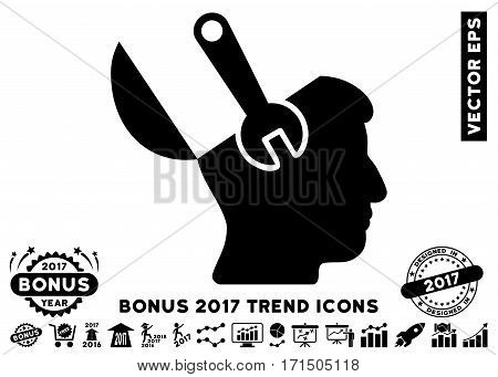 Black Mind Wrench Surgery icon with bonus 2017 trend images. Vector illustration style is flat iconic symbols white background.