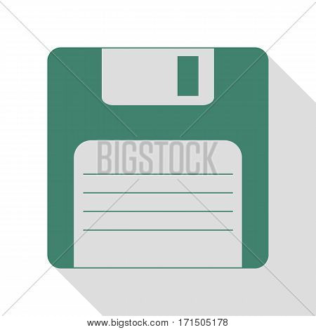 Floppy disk sign. Veridian icon with flat style shadow path.