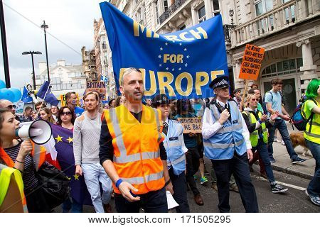 LONDON - July 2nd: Protesters at the march for europe protest on June the 2nd 2016 in London england uk. An estimated 35 thousand attended the march.