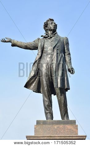 Statue of Alexander Pushkin on Arts Square in St.Petersburg Russia.
