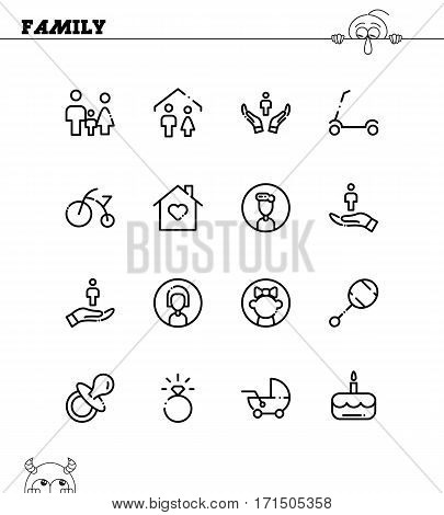 Family icon set. Collection of high quality outline symbols for web design, mobile app. Family vector thin line icons or logo.