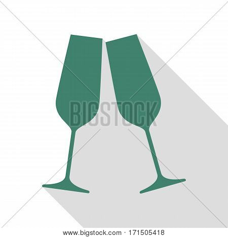 Sparkling champagne glasses. Veridian icon with flat style shadow path.