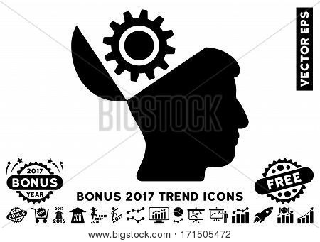 Black Open Head Gear icon with bonus 2017 year trend images. Vector illustration style is flat iconic symbols white background.
