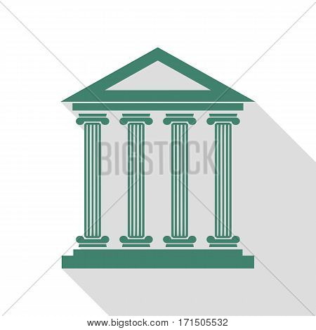 Historical building illustration. Veridian icon with flat style shadow path.