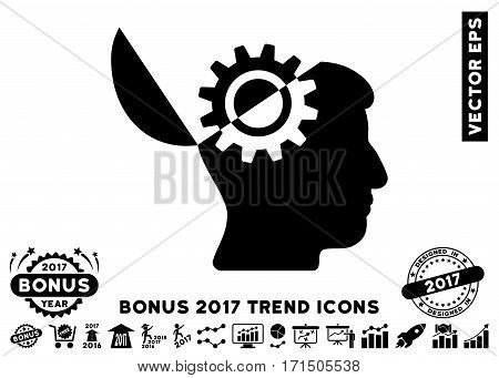 Black Open Mind Gear pictogram with bonus 2017 year trend images. Vector illustration style is flat iconic symbols white background.