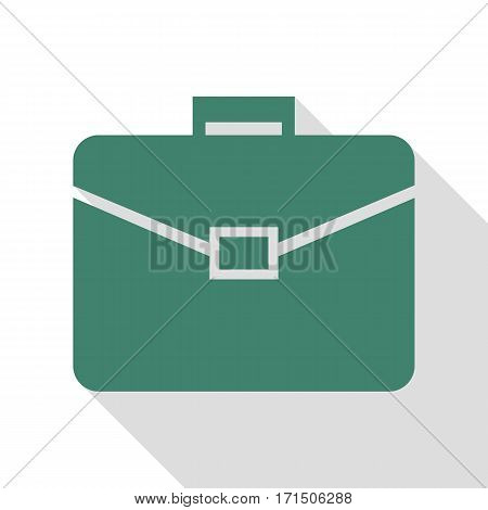 Briefcase sign illustration. Veridian icon with flat style shadow path.