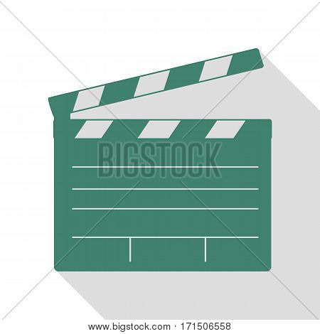 Film clap board cinema sign. Veridian icon with flat style shadow path.