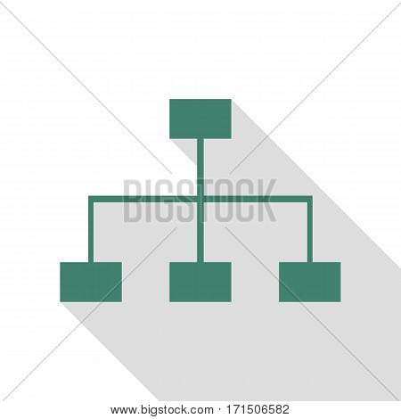 Site map sign. Veridian icon with flat style shadow path.