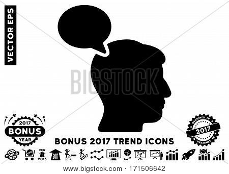 Black Person Opinion icon with bonus 2017 trend pictograms. Vector illustration style is flat iconic symbols white background.