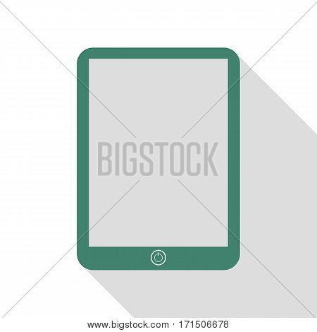 Computer tablet sign. Veridian icon with flat style shadow path.