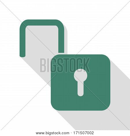 Unlock sign illustration. Veridian icon with flat style shadow path.