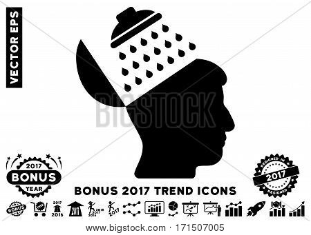 Black Propaganda Brain Shower pictograph with bonus 2017 year trend pictograph collection. Vector illustration style is flat iconic symbols white background.